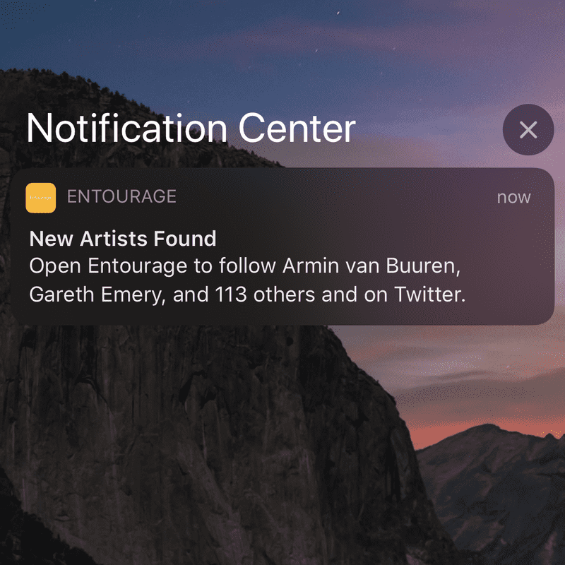 Entourage notification screenshot